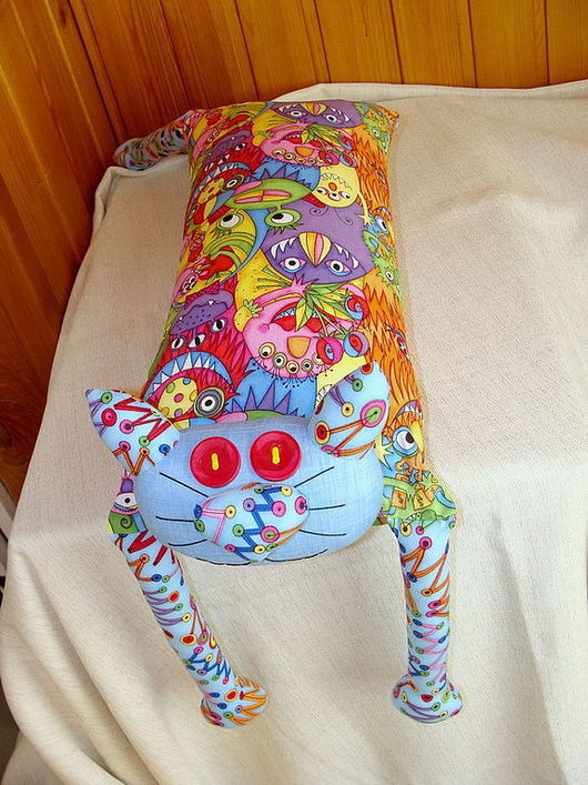 """Детская ручной работы. Ярмарка Мастеров - ручная работа. Купить Игрушка-подушка """"Радужный кот"""" монстрики. Handmade. Подушка декоративная"""