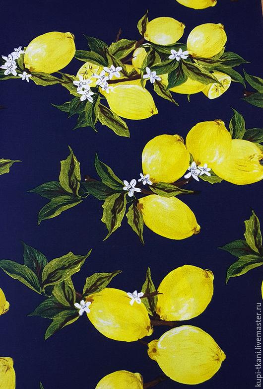 Шитье ручной работы. Ярмарка Мастеров - ручная работа. Купить Штапель лимоны на темно-синем фоне. Handmade. Комбинированный, горошек