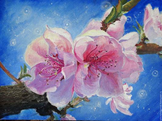 """Картины цветов ручной работы. Ярмарка Мастеров - ручная работа. Купить Картина акрилом """"Когда расцветают деревья.."""". Handmade."""