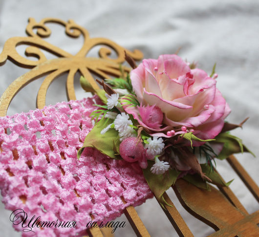 """Детская бижутерия ручной работы. Ярмарка Мастеров - ручная работа. Купить Повязка """"Садовница"""" для девочки. Handmade. Розовый, повязка с цветком"""