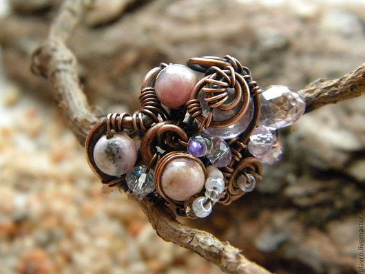 """Кольца ручной работы. Ярмарка Мастеров - ручная работа. Купить Перстень """"Сад камней"""". Handmade. Бледно-розовый, перстень из меди"""