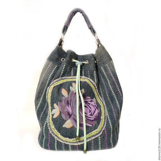 Джинсовая сумка-торба ручной работы в бохо стиле с вышивкой `Сиреневая дымка`, Zhanna Petrakova Atelier Moscow, бохо стиль, джинсовые сумки