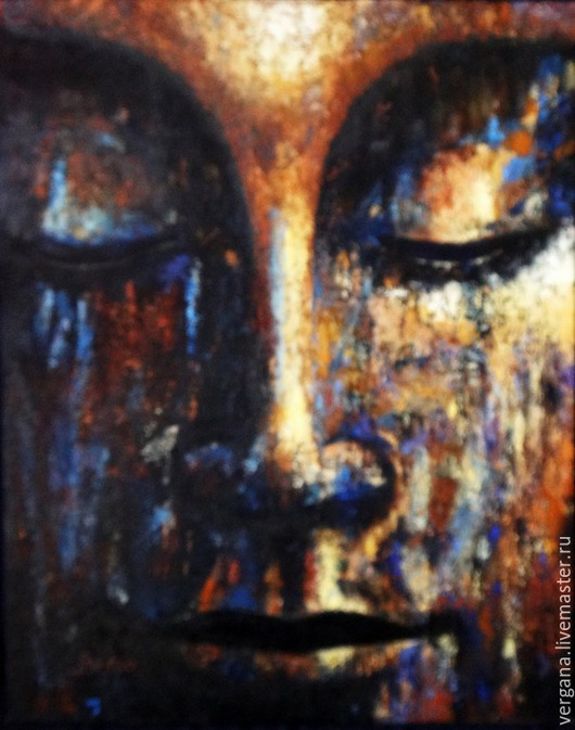 Этно ручной работы. Ярмарка Мастеров - ручная работа. Купить Будда. Handmade. Черный, будда, картина, масло, холст на картоне