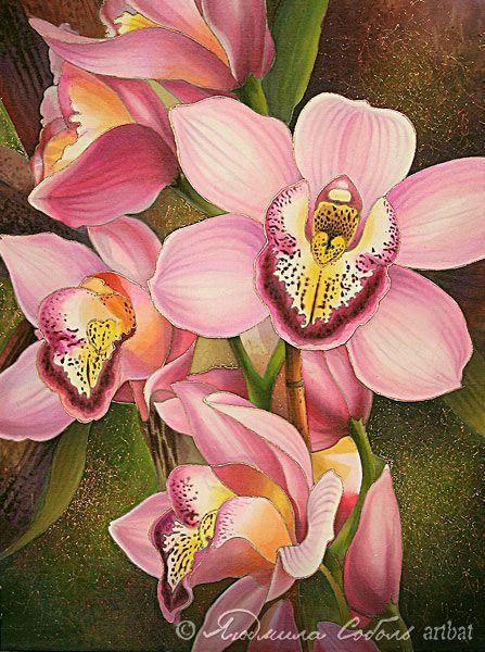 """Картины цветов ручной работы. Ярмарка Мастеров - ручная работа. Купить Батик """"Розовая орхидея"""". Handmade. Батик, шелк, цветы"""