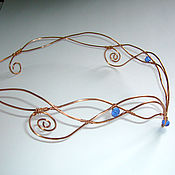 Субкультуры ручной работы. Ярмарка Мастеров - ручная работа Диадема с синими бусинами. Handmade.