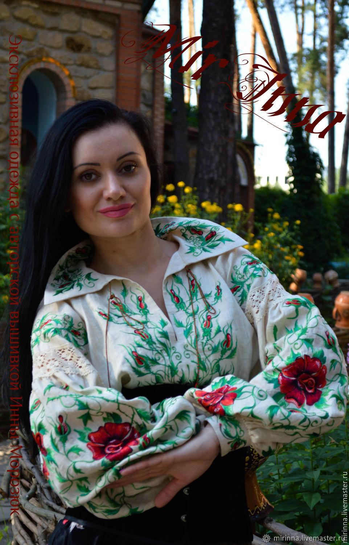 """Льняная вышиванка""""Крем и розы """"авторская, Блузки, Северодонецк,  Фото №1"""