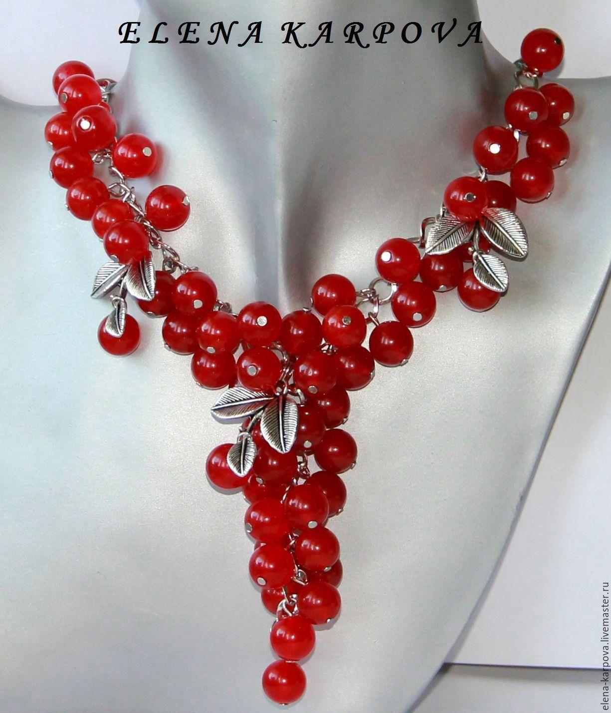 Ожерелье красный своими руками
