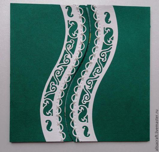 Кардсток `Малахитовая полоска`. Плотность - 300 г Цена за формат А4 - 15 руб. На фото - пример заготовки для открытки и сочетания с белым цветом.