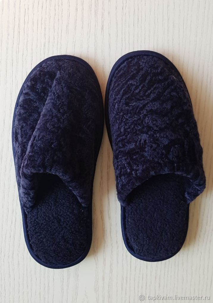Sheepskin Slippers with a closed Cape women's blue, Slippers, Moscow,  Фото №1