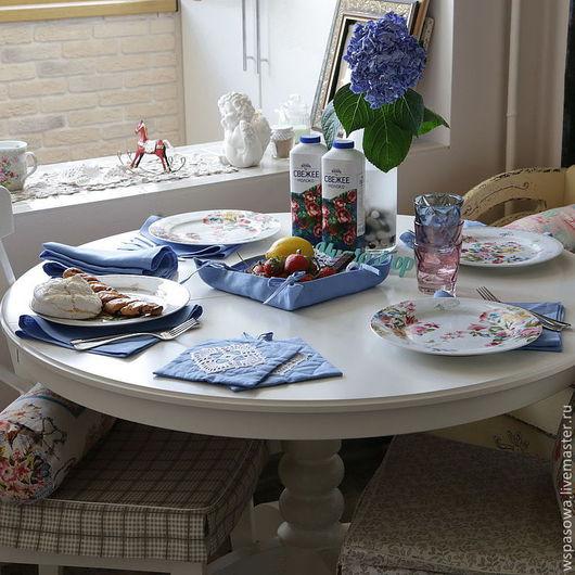 Кухня ручной работы. Ярмарка Мастеров - ручная работа. Купить Столовый комплект Небесно голубой. Handmade. Синий, прихватки