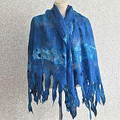 Аксессуары handmade. Livemaster - original item Original Gift Summer Silk stole Felted Blue Air. Handmade.