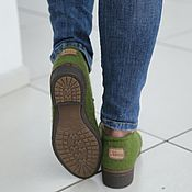 Boots handmade. Livemaster - original item Felted low shoes emerald city-3. Handmade.