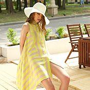Одежда handmade. Livemaster - original item Neon striped tunic with asymmetrical hem. Handmade.