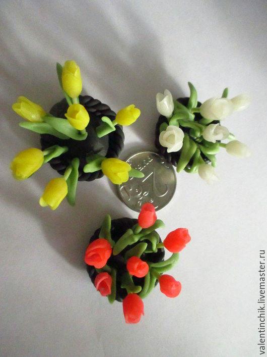 Миниатюра ручной работы. Ярмарка Мастеров - ручная работа. Купить Тюльпаны к 8 марта. Handmade. Кукольный дом, цветочная композиция