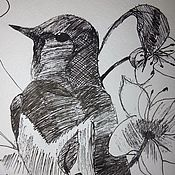 """Картины и панно ручной работы. Ярмарка Мастеров - ручная работа Рисунок гелевой ручкой """"Птица"""". Handmade."""