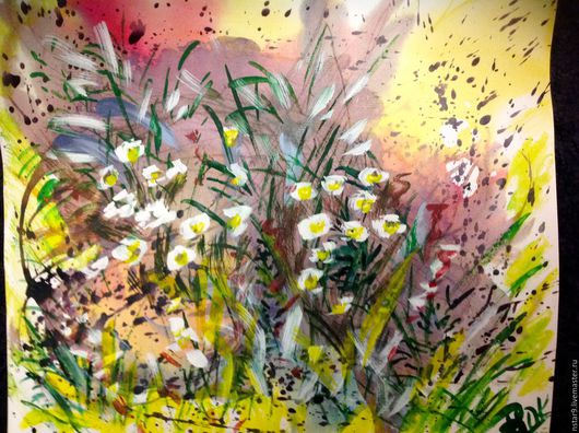 Пейзаж ручной работы. Ярмарка Мастеров - ручная работа. Купить Цветочная поляна на жёлтом фоне.. Handmade. Желтый