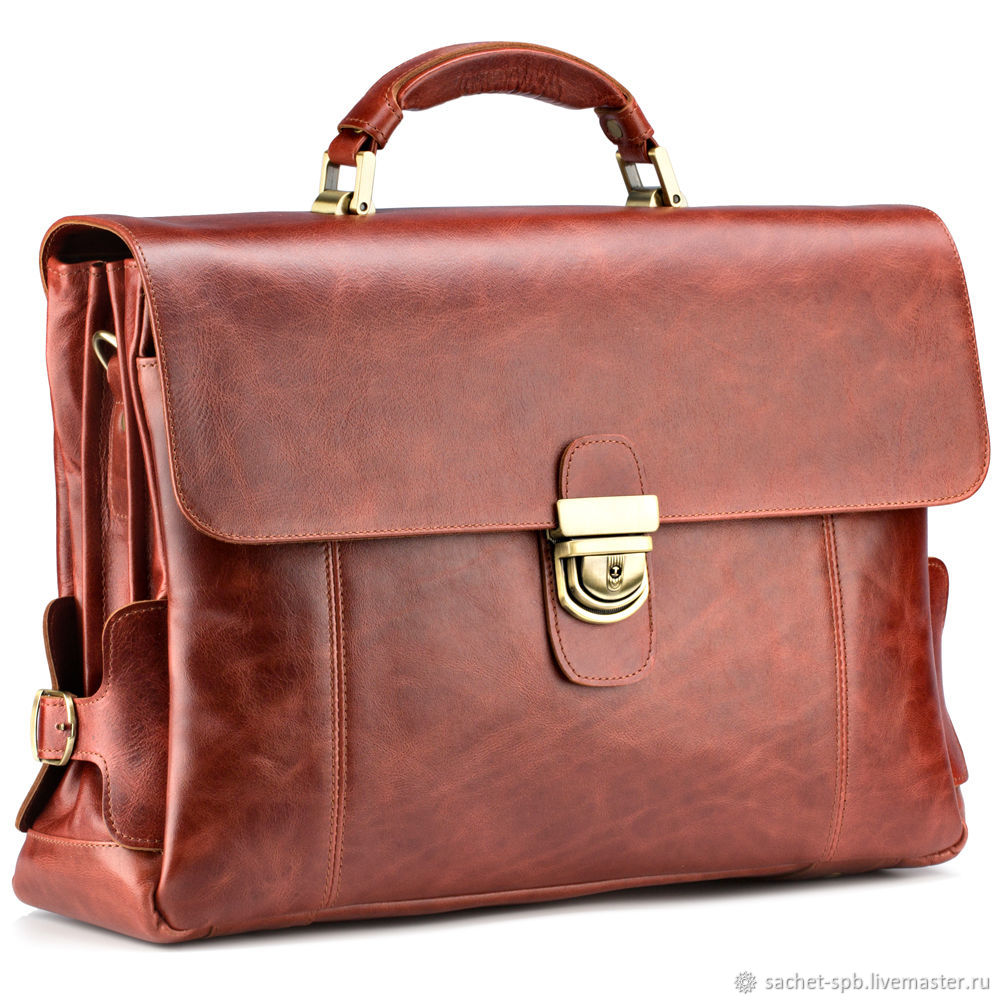 Leather briefcase 'Bormental' (red antique), Brief case, St. Petersburg,  Фото №1
