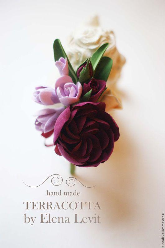 Бутоньерка из полимерной глины. Terracotta by Elena Levit.