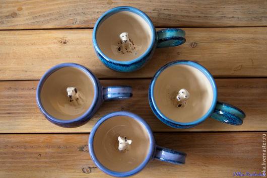 Кружки и чашки ручной работы. Ярмарка Мастеров - ручная работа. Купить Собачьи :). Handmade. Разноцветный, собачка, синий, глина