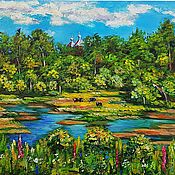 Картины и панно handmade. Livemaster - original item Cows in a meadow oil painting. Handmade.