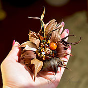 Украшения handmade. Livemaster - original item Brooch flower of leather Sundrop. Handmade.