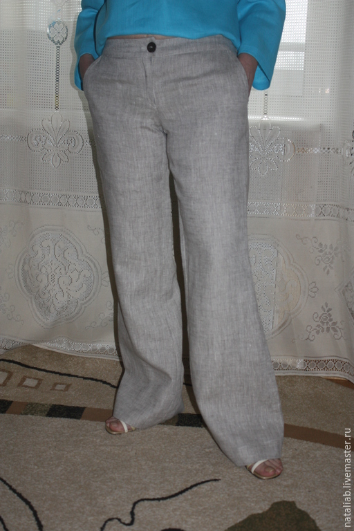 Брюки, шорты ручной работы. Ярмарка Мастеров - ручная работа. Купить Льняные брюки (на молнии). Handmade. Серый, брюки