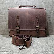 Сумки и аксессуары handmade. Livemaster - original item Portfolio: Men`s leather bag ALEXANDER walnut color. Handmade.