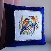 Вышивка крестом подушки с птицами 610