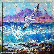 """Картины и панно ручной работы. Ярмарка Мастеров - ручная работа """"В Танце с Волнами"""" - картина маслом с морем и чайками. Handmade."""