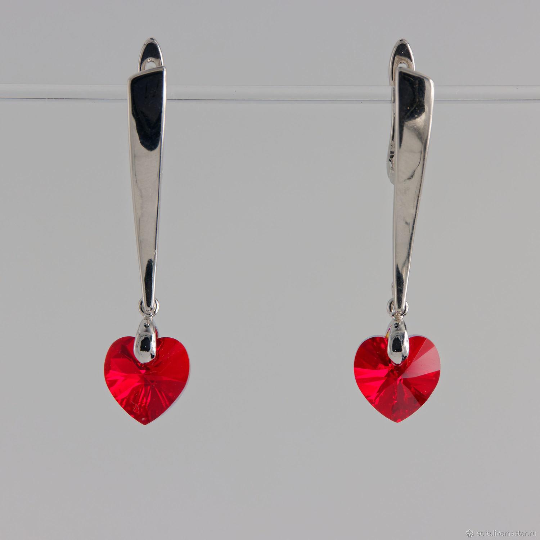 Серьги с кристаллами-сердечками красного цвета, Серьги классические, Москва,  Фото №1
