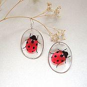 Украшения handmade. Livemaster - original item Transparent Earrings Cute Ladybugs Red Black White. Handmade.