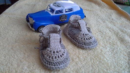 Детская обувь ручной работы. Ярмарка Мастеров - ручная работа. Купить пинетки сандалики льняные. Handmade. Пинетки для новорожденных
