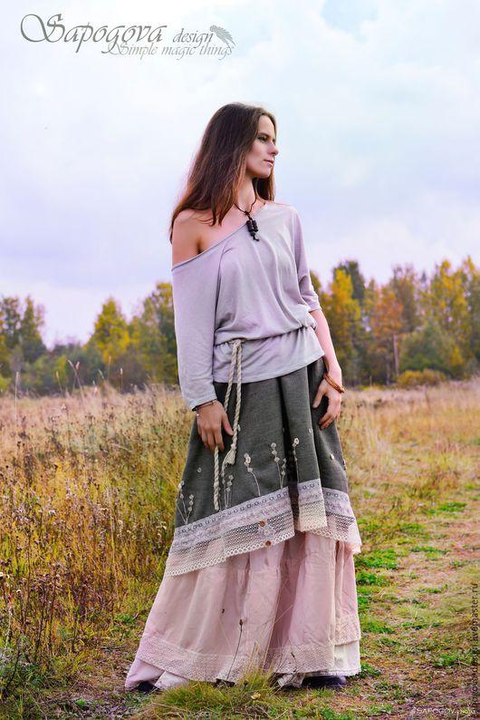 Алина Сапогова. Авторская юбка в стиле бохо `Дикие травы`, длинная осенняя бохо юбка, юбка в стиле шебби шик, юбка из натуральных тканей.  Фотограф Александр Сапогов.
