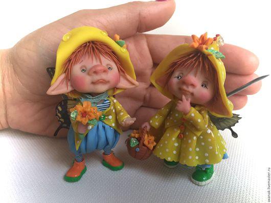 Коллекционные куклы ручной работы. Ярмарка Мастеров - ручная работа. Купить Осенний дождик. Handmade. Желтый, лесная фея
