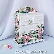Для дома и интерьера ручной работы. Ярмарка Мастеров - ручная работа Мини-комодик Розы на белом. Handmade.