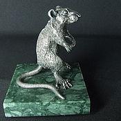 Украшения handmade. Livemaster - original item A rat on its hind legs. A rat made of silver . Table decoration. Handmade.