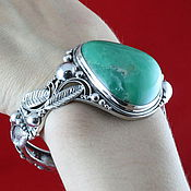 Украшения handmade. Livemaster - original item Sterling silver bracelet 925 natural chrysoprase green chalcedony. Handmade.