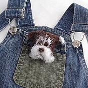 Украшения handmade. Livemaster - original item Brooch knitted dog Semushka, the symbol of the New 2018.. Handmade.