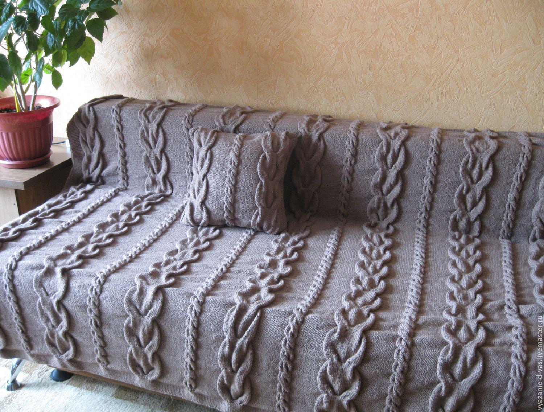 плед вязаный спицами покрывало одеяло королевские косы ручная