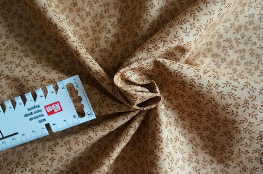 """Шитье ручной работы. Ярмарка Мастеров - ручная работа. Купить Ткань хлопок """"Веточки на песке"""". Handmade. Бежевый, ткань для шитья"""