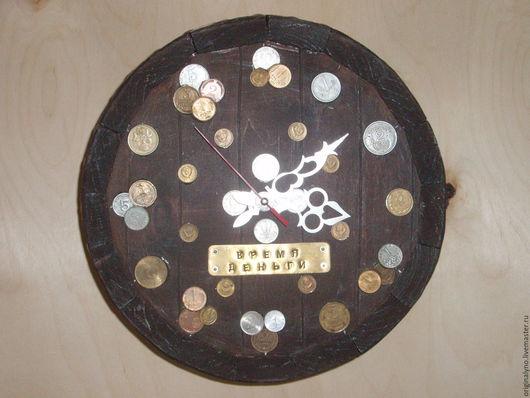 """Часы для дома ручной работы. Ярмарка Мастеров - ручная работа. Купить Часы """"Деньги на бочку"""". Handmade. Бежевый, интерьер, бочка"""