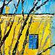 Яркая картина в интерьер Картина масло город Городской пейзаж маслом картина Картина деревья
