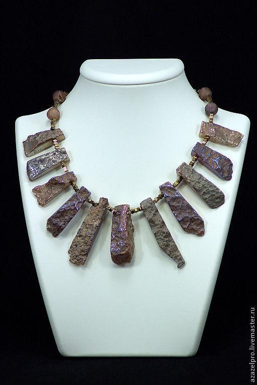 Ожерелье бусы колье из Агата натурального №1421