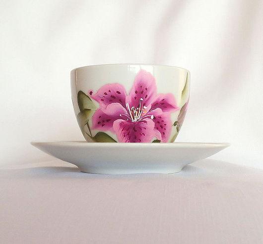 """Сервизы, чайные пары ручной работы. Ярмарка Мастеров - ручная работа. Купить Чайная пара с росписью """" Лилии"""". Handmade."""
