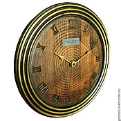 Для дома и интерьера handmade. Livemaster - original item A wall clock. Beech. Old gold. Five.. Handmade.