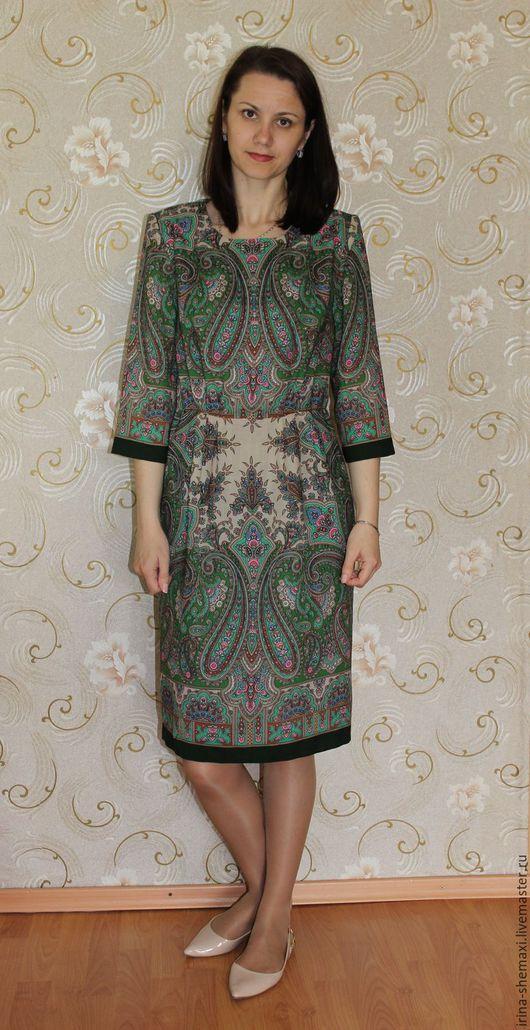 Платья ручной работы. Ярмарка Мастеров - ручная работа. Купить Платье Бирюсинка зеленое. Handmade. Тёмно-зелёный, павловопосадский платок