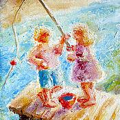 """Картины и панно ручной работы. Ярмарка Мастеров - ручная работа Картина """"На речке"""", холст, масло, оргалит, 20х15 см. Handmade."""