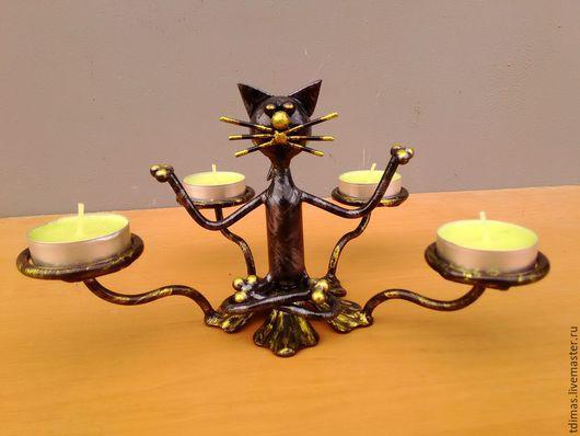 Подсвечники ручной работы. Ярмарка Мастеров - ручная работа. Купить Кошки-мышки-йоги. Handmade. Подсвечник, подсвечник из металла, сталь