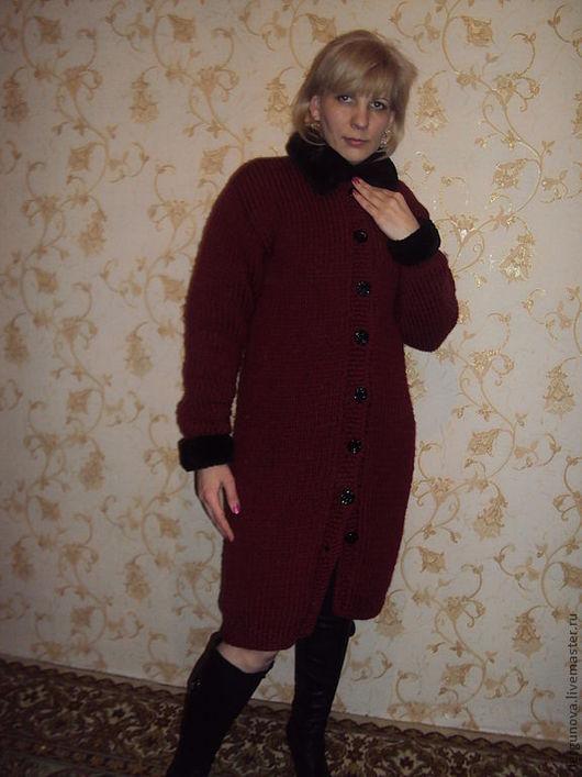 Верхняя одежда ручной работы. Ярмарка Мастеров - ручная работа. Купить Пальто. Handmade. Бордовый, вязание спицами