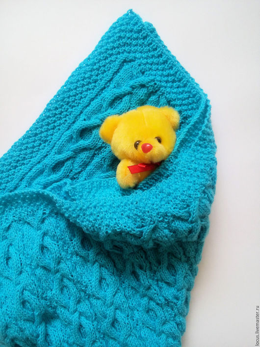 Текстиль, ковры ручной работы. Ярмарка Мастеров - ручная работа. Купить Голубой плед для малыша,  спицами. Handmade. Голубой